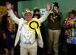 © Licensed to London News Pictures. 01/03/2013. Eastleigh, UK HOWLING LAUD HOPE - Monster Raving Loony William Hill Party. Ballot boxes begin to arrive at the count centre at  Fleming Park Leisure Centre in Eastleigh this evening. The voters of Eastleigh vote to choose a new MP in a by-election prompted by the resignation of former Lib Dem cabinet minister Chris Huhne. Polling will continued 22:00 GMT 28/02/13, with votes counted overnight on Thursday. There are 14 candidates in total on the ballot papers.. Photo credit : Stephen Simpson/LNP