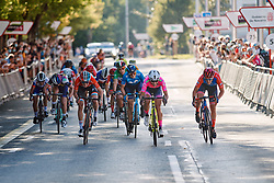The sprint for third at the 2020 Clasica Feminas De Navarra, a 122.9 km road race starting and finishing in Pamplona, Spain on July 24, 2020. Photo by Sean Robinson/velofocus.com