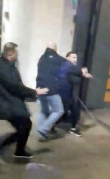 EXCLUSIVE: ** NO USA TV AND NO USA WEB ** Conor McGregor and his entourage going BERSERK at the Barclays Center ... attacking a bus leaving the arena with several UFC fighters including Khabib Nurmagomedov. An object was thrown through one of the bus windows -- and the damage left one fighter, UFC lightweight contender Michael Chiesa, cut up and bloodied. Unclear who was responsible for shattering the side window but it's clear people on the bus suspect it's Conor. A member of Conor's entourage then grabbed a chair and threw it at the front windshield of the bus. Conor grabbed a chair and tried to attack as well, but was restrained. 05 Apr 2018 Pictured: Conor McGregor. Photo credit: TMZ/MEGA TheMegaAgency.com +1 888 505 6342