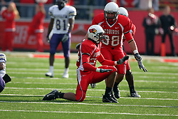 27 October 2007: Kelvyn Hemphill gets hyped after tackling the Leathernecks ball carrier. The Western Illinois Leathernecks beat up on the Illinois State Redbirds  27-14 at Hancock Stadium on the campus of Illinois State University in Normal Illinois.