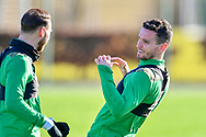 Paul McGinn (#6) of Hibernian FC is all smiles during the training session for Hibernian FC at the Hibs Training Centre, Ormiston, Scotland on 26 February 2021, ahead of the SPFL Premiership match against Motherwell.