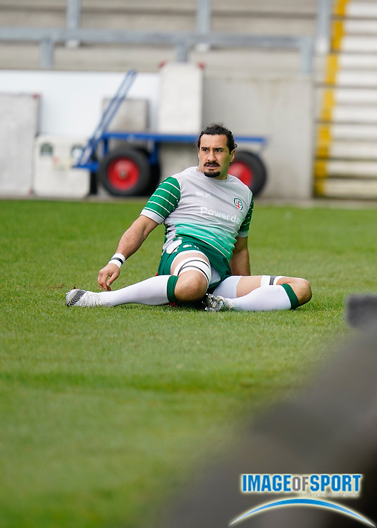 London Irish Blair Cowan warms up before the game during a Gallagher Premiership Round 14 Rugby Union match, Sunday, Mar 21, 2021, in Eccles, United Kingdom. (Steve Flynn/Image of Sport)
