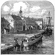 Josiah Wedgwood's (1730-1795) Etruria potteries, Hanley, Staffordshire viewed from the Etruria Canal which was constructed in order to transport finished wares from the potteries. Wood engraving.