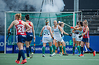AMSTELVEEN - Ierland heeft gescoord, Sarah Hawkshaw (Ier) , Naomi Carroll (Ier)  tijdens de wedstrijd dames , Ierland-Engeland (1-5) bij het  EK hockey , Eurohockey 2021.COPYRIGHT KOEN SUYK