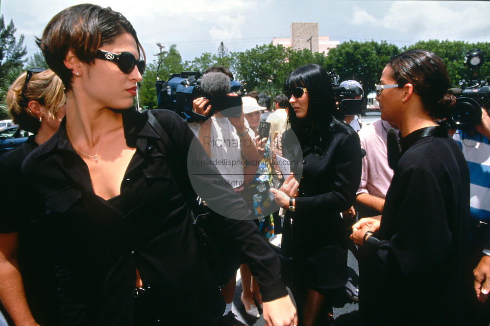 The fashion industry gathers for a memorial service for murdered designer Gianni Versace July 19, 1997 in Miami, FL.  Versace was murdered outside his Miami Beach home at the age of 50 by spree killer Andrew Cunanan.