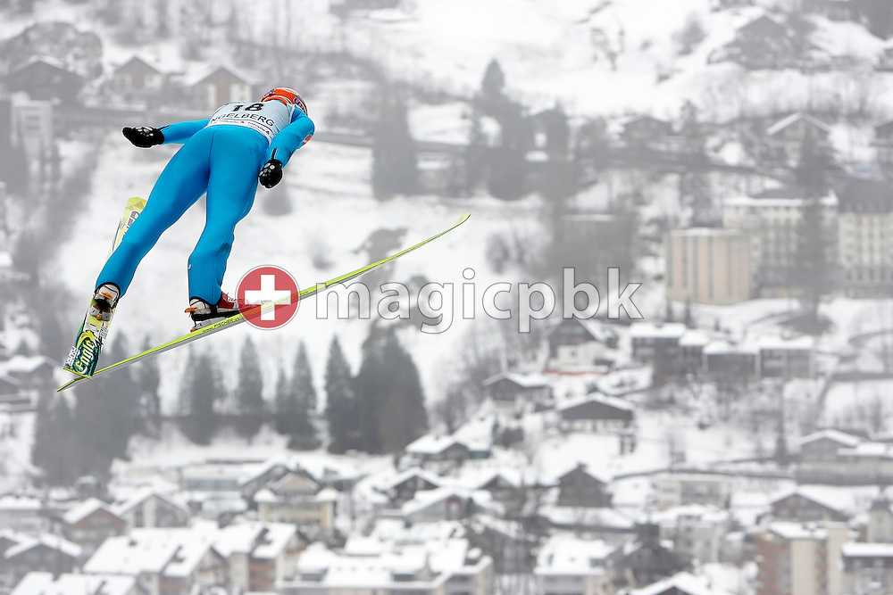 Later 44th placed Sami Niemi of Finland during his qualification jump at the Ski Jumping World Cup in Engelberg, Switzerland, Sunday, Dec. 21, 2008. (Photo by Patrick B. Kraemer / MAGICPBK)