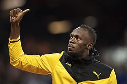 August 13, 2017 - London, STORBRITANNIEN - 170813 Jamaicas Usain Bolt gÅ¡r tummen upp mot publiken vid ett Årevarv under dag tio av friidrotts-VM den 13 augusti 2017 i London  (Credit Image: © Joel Marklund/Bildbyran via ZUMA Wire)
