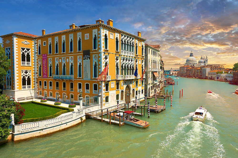 The Grand Canal from Ponte dell'Accademia at sunset; in the foreground Palazzo Cavalli-Franchetti