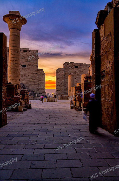 Vivid colors of sunset over Karnak Temple in Luxor