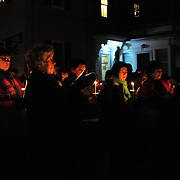 Supporters gather at the site of the African Burying Ground in Portsmouth, NH following a concert by the Soweto Gospel Choir at The Music Hall