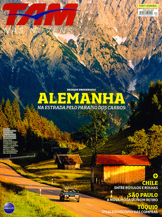 Driving in the Bavarian Alps of Germany. Cover of TAM Airlines Magazine in Brazil, November 2014.