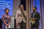 Purchase, NY – 31 October 2014. The team from Mount Vernon High School giving their presentaion. (From left to right: Zainab Floyd, Mikala Bell,  Russell Stewart.) The Business Skills Olympics was founded by the African American Men of Westchester, is sponsored and facilitated by Morgan Stanley, and is open to high school teams in Westchester County.