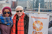 Annie Lennox and •Leyla Hussein, anti-FGM campaigner - 'Walk in Her Shoes' a  mother's day march in solidarity with women and girls around the world and in advance of International Womens Day this week - CARE International's Walk In Her Shoes event led by Helen Pankhurst, her 21-year old daughter Laura Pankhurst, music legend Annie Lennox, Bianca Jagger, comedian Bridget Christie, Secretary of State for International Development Justine Greening, London Mayoral candidates Sadiq Khan and Sophie Walker and a group of 'Olympic Suffragettes' in Edwardian clothing with banners. They were also joined by Sister Sledge.