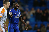 Sol Bamba of Cardiff city looks on.EFL Skybet championship match, Cardiff city v Hull city at the Cardiff city stadium in Cardiff, South Wales on Saturday 16th December 2017.<br /> pic by Andrew Orchard, Andrew Orchard sports photography.