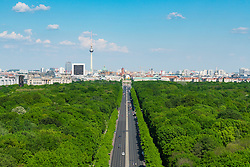 Skyline of Berlin and Tiergarten park towards Brandenburg Gate in Germany