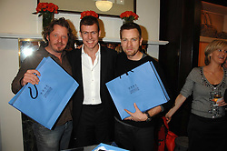 Left to right, CHARLEY BOORMAN, PADDY BYNG CEO of Smythson and actor EWAN McGREGOR at a party to celebrate the launch of the book 'Long Way Down' by Ewan McGregor and Charley Boorman held at Smythson, 40 New Bond Street, London W1 on 19th November 2007,<br /><br />NON EXCLUSIVE - WORLD RIGHTS