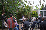 Open Garden Estates event at Knights Walk with architect Kate Macintosh on 14th June 2015 in Lambeth, South London, United Kingdom. Open Garden Estates is an initiative by Architects for Social Housing ASH, a collective working to save London council estates under threat of demolition by Government housing policy, local authority estate regeneration programmes and property developers.