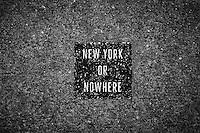 A stencil on a sidewalk in Greenwich Village, NYC.