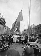 Aer Lingus 21st Anniversary Flag being Hoisted on O'Connell Street, Dublin Ireland..27/05/1957.