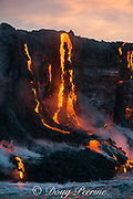 red hot lava from Kilauea Volcano enters the Pacific Ocean at sunrise in Puna, Hawaii Island ( the Big Island ), west of Kalapana, Hawaiian Islands, U.S.A.