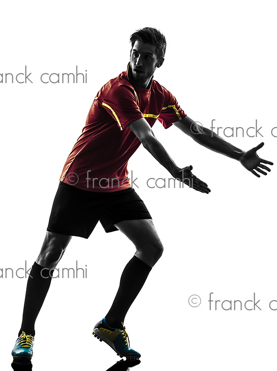 one man soccer player complaining playing football competition in silhouette on white background