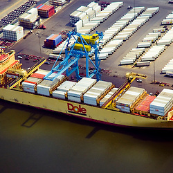Aerial view of Dole Produce Container Ship docked at the port of Wilmington, Delaware