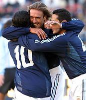 09/07/03 - THE CELEBRATION OF THE 25th ANNIVERSARY OF THE WORLD CUP FIFA 1978 , WHERE AGENTINA  WON  - ARGENTINA.<br />The celebration was a friendly match  that assemble different players generations of the argentinean national selection team. <br />Batistuta is celebrating his goal with Ariel ortega and  Hernan Diaz.<br />©A.K/Argenpress.com