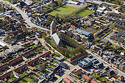 Nederland, Friesland, Het Bildt, 16-04-2012. het dorp Minnertsga met Meinardskerk. Zadeldak..Small village.luchtfoto (toeslag), aerial photo (additional fee required);.copyright foto/photo Siebe Swart