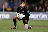 Glenn Morris, the Crawley Town goalkeeper in action. EFL Skybet football league two match, Newport county v Crawley Town at Rodney Parade in Newport, South Wales on Saturday 1st April 2017.<br /> pic by Andrew Orchard, Andrew Orchard sports photography.