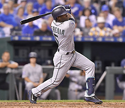 August 3, 2017 - Kansas City, MO, USA - The Seattle Mariners' Guillermo Heredia follows through on an RBI single in the sixth inning against the Kansas City Royals at Kauffman Stadium in Kansas City, Mo., on Thursday, Aug. 3, 2017. (Credit Image: © John Sleezer/TNS via ZUMA Wire)