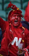 Twickenham. Great Britain.<br /> Painted, Red face Wales fan. RBS Six Nations Rugby, England vs Wales at the RFU Twickenham Stadium. England.<br /> <br /> Saturday  12/03/2016 <br /> <br /> [Mandatory Credit; Peter Spurrier/Intersport-images]
