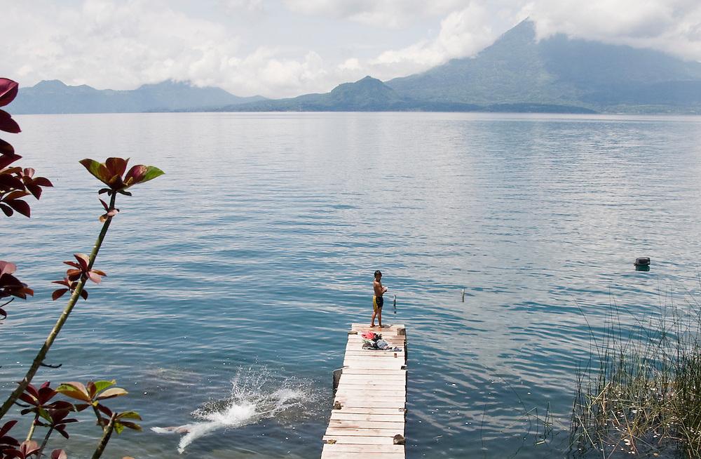 Boys going for a swim after school in San Marcos la Laguna, Lago de Atitlan, Guatemala. July 2009.  (Photo/William Byrne Drumm)