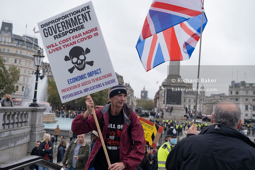 During the second wave of the Coronavirus pandemic, anti-lockdown protesters disregard social distancing rules or adhere to the terms of their own risk assessment, during their march through central London and into Trafalgar Square, on 24th October 2020, in London, England. Eighteen people were arrested at the protest where they called for a return of their freedoms.