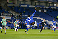 Brighton and Hove Albion forward Danny Welbeck (18) shoots at goal during the Premier League match between Brighton and Hove Albion and Everton at the American Express Community Stadium, Brighton and Hove, England UK on 12 April 2021.