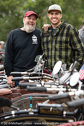 Father and son - Mark Loewen with his son Jeremy on the <br /> Motorcycle Cannonball coast to coast vintage run. Stage-3 (227-miles) from Binghampton to Jamestown, NY. Monday September 10, 2018. Photography ©2018 Michael Lichter.