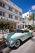 Classic Buick 1955 Special Convertible automobile at Avalon Hotel in Ocean Drive, South Beach, Miami, Florida