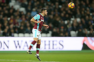 Aaron Cresswell of West Ham United heads the ball .Premier league match, West Ham Utd v Hull city at the London Stadium, Queen Elizabeth Olympic Park in London on Saturday 17th December 2016.<br /> pic by John Patrick Fletcher, Andrew Orchard sports photography.