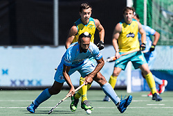 (L-R) Sardar Singh of India, Lachlan Sharp of Australia during the Champions Trophy finale between the Australia and India on the fields of BH&BC Breda on Juli 1, 2018 in Breda, the Netherlands.