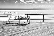 Man sleeping on a bench at Coney Island in Brooklyn, New York