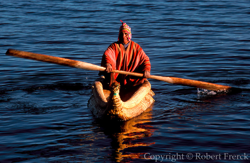 PERU, LAKE TITICACA floating islands of the Uros near Puno;  an ancient culture, noted for making  traditional boats of woven totora reeds