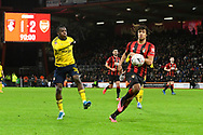 Edward Nketiah (30) of Arsenal on the attack with Nathan Ake (5) of AFC Bournemouth closing in during the The FA Cup match between Bournemouth and Arsenal at the Vitality Stadium, Bournemouth, England on 27 January 2020.