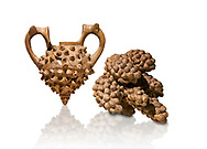 Hittite terra cotta two handled vessel and a ritual vessel in the shape of a bunch of grapes - 16th century BC - Hattusa ( Bogazkoy ) - Museum of Anatolian Civilisations, Ankara, Turkey . Against white background .<br />  <br /> If you prefer to buy from our ALAMY STOCK LIBRARY page at https://www.alamy.com/portfolio/paul-williams-funkystock/hittite-art-antiquities.html  - Type Hattusa into the LOWER SEARCH WITHIN GALLERY box. Refine search by adding background colour, place, museum etc<br /> <br /> Visit our HITTITE PHOTO COLLECTIONS for more photos to download or buy as wall art prints https://funkystock.photoshelter.com/gallery-collection/The-Hittites-Art-Artefacts-Antiquities-Historic-Sites-Pictures-Images-of/C0000NUBSMhSc3Oo