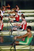.Barcelona Olympic Games 1992.Olympic Regatta - Lake Banyoles.Looking across the start lne men's 4-..       {Mandatory Credit: © Peter Spurrier/Intersport Images]..........       {Mandatory Credit: © Peter Spurrier/Intersport Images].........