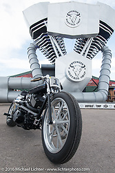 Yoshikazu Ueda and Yuichi Yoshizawa Custom Works Zon Harley-Davidson Street 750 at the Easyriders Bike Show at the Buffalo Chip's Crossroads area during the Sturgis Black Hills Motorcycle Rally. SD, USA. August 10, 2016. Photography ©2016 Michael Lichter.
