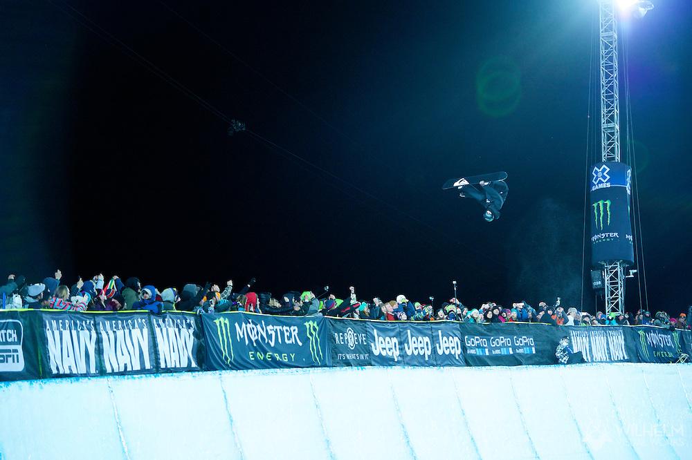 Iouri Podladtchikov during Snowboard Superpipe Finals at 2014 X Games Aspen at Buttermilk Mountain in Aspen, CO. ©Brett Wilhelm/ESPN