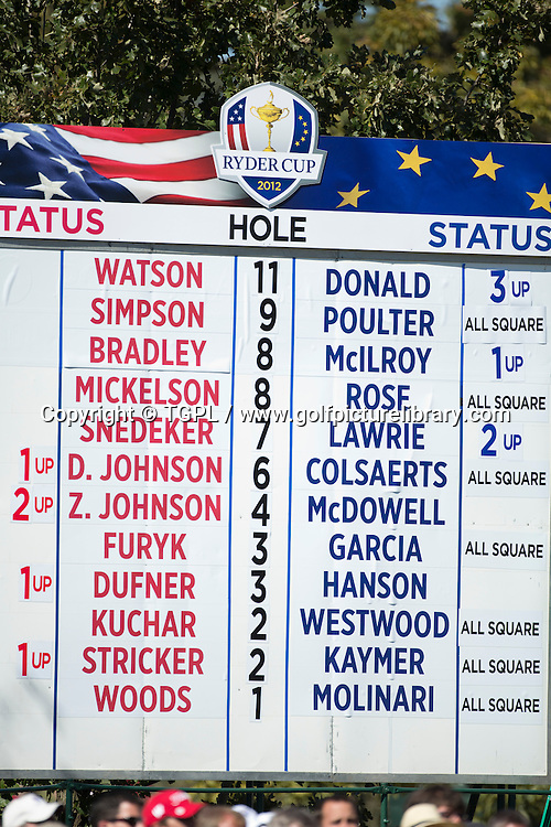 Scoreboard after each match had played the 1st hole during final day Singles,Ryder Cup Matches,Medinah CC,<br /> Medinah,Illinois,USA.