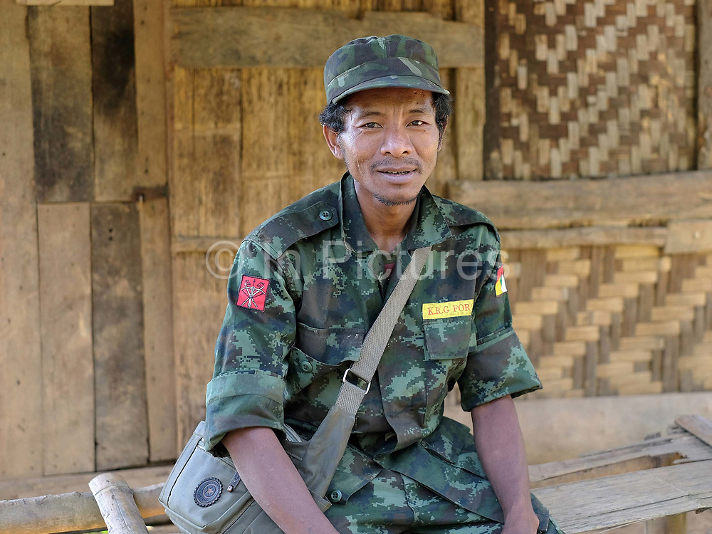 Portrait of an officer from the KRG Force, a local insurgent military group in Yo Co Pra ethnic Kayaw village, Kayah State, Myanmar on 21st November 2016
