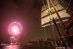 © Licensed to London News Pictures. 05/09/2014. The biggest tall ships on the Thames for a quarter of a century has got under way following a launch event under fireworks on the Thames. The regatta has brought 50 tall ships to London which are available to see across the weekend at Greenwich, Woolwich and Canary Wharf. Credit : Rob Powell/LNP