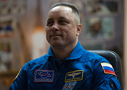 Expedition 54 Soyuz Commander Anton Shkaplerov of Roscosmos is seen in quarantine, behind glass, during a press conference, Saturday, December 16, 2017 at the Cosmonaut Hotel in Baikonur, Kazakhstan. Shkaplerov, flight engineer Scott Tingle of NASA, and flight engineer Norishige Kanai of Japan Aerospace Exploration Agency (JAXA) are scheduled to launch to the International Space Station aboard the Soyuz spacecraft from the Baikonur Cosmodrome on December 17. Photo by Joel Kowsky / NASA via CNP/ABACAPRESS.COM