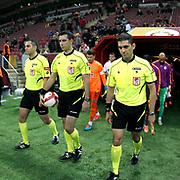 Referee's Ali Palabiyik (C) during their Ziraat Turkey CUP soccer match Galatasaray between Eskisehirspor at the AliSamiYen TT Arena at Seyrantepe in Istanbul Turkey on Wednesday, 03 December 2014. Photo by Kurtulus YILMAZ/TURKPIX